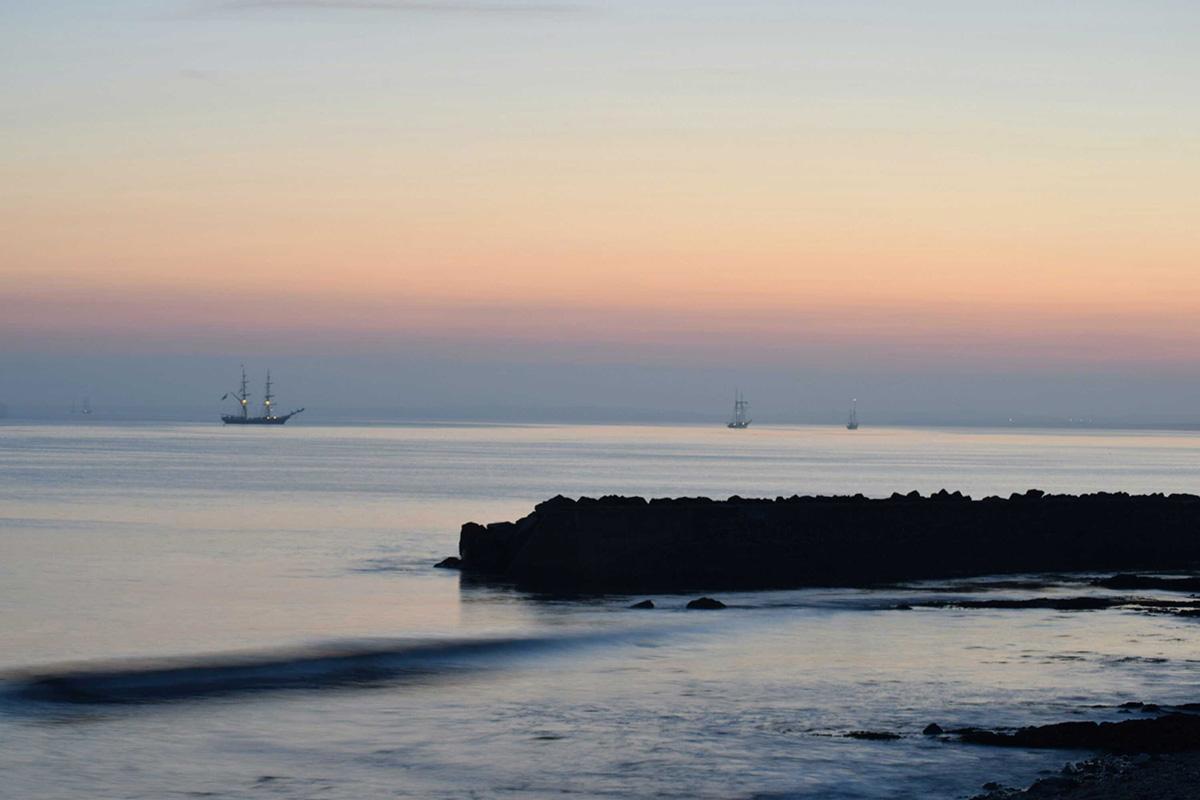Tall ships on Ballyteige Burrow Bay